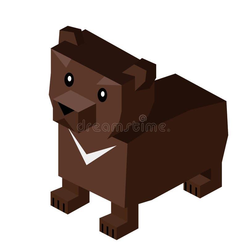 Dzikie Zwierzę Niedźwiadkowy Isometric 3d projekt ilustracji