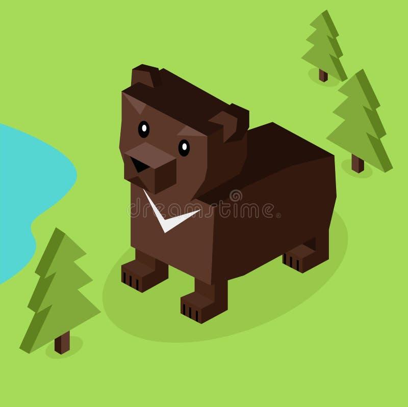 Dzikie Zwierzę Niedźwiadkowy Isometric 3d projekt ilustracja wektor