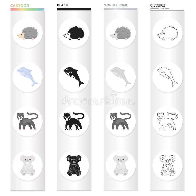 Dzikie zwierzę pantera, kłujący jeż, mądry delfin, koala Zwierzęta ustawiają inkasowe ikony w kreskówki czerni monochromu ilustracja wektor