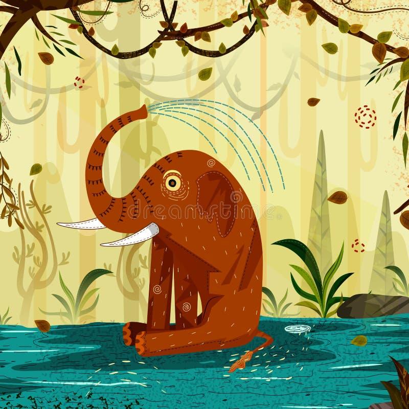 Dzikie zwierzę słoń w dżungla lasu tle ilustracji