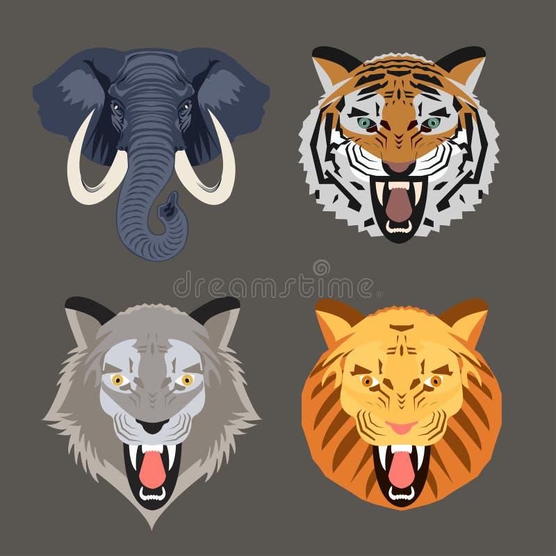 Dzikie Zwierzę twarze ilustracja wektor