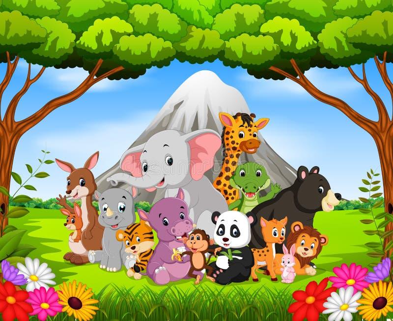 Dzikie zwierzę w dżungli ilustracji