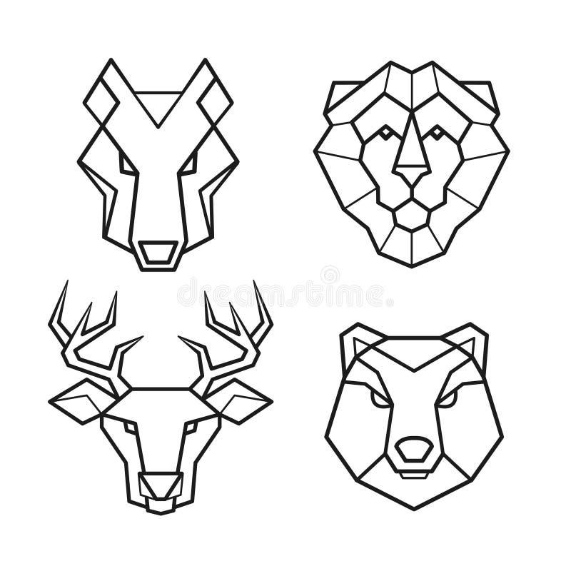 Dzikie zwierzę wektoru geometryczny kierowniczy set royalty ilustracja