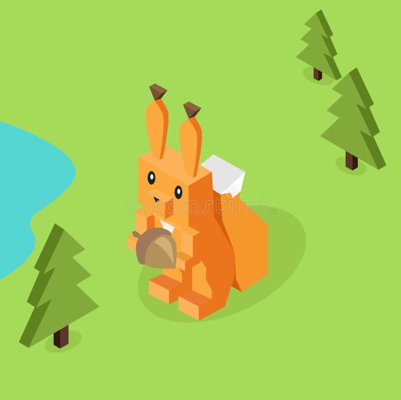 Dzikie Zwierzę Wiewiórczy Isometric 3d projekt royalty ilustracja