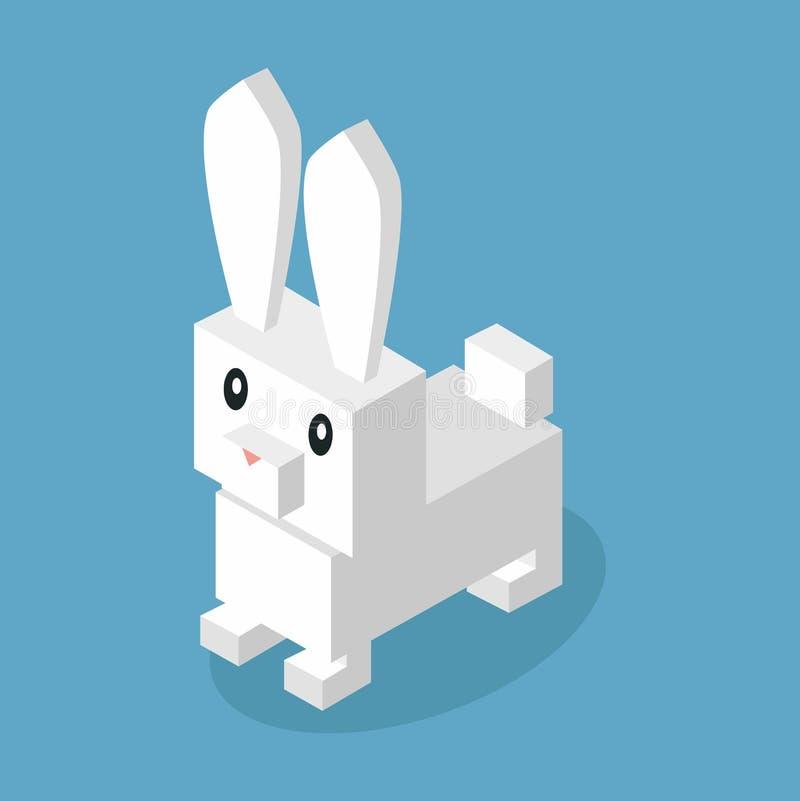 Dzikie Zwierzę zając, królika Isometric 3d projekt ilustracji