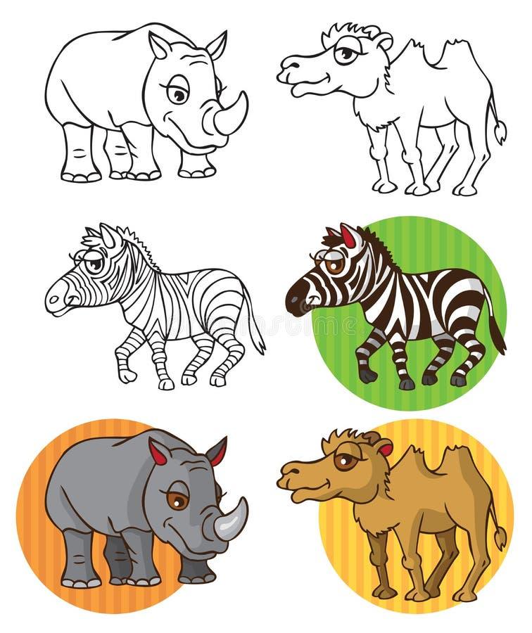 Dzikie zwierzę zebry wielbłąda nosorożec royalty ilustracja