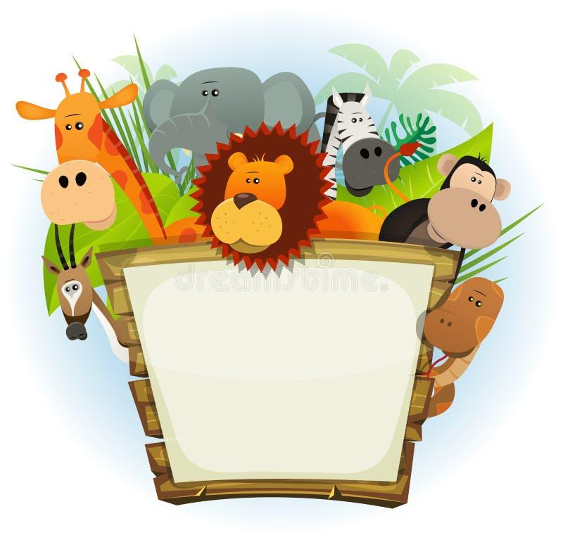 Dzikie Zwierzę zoo drewna znak ilustracji