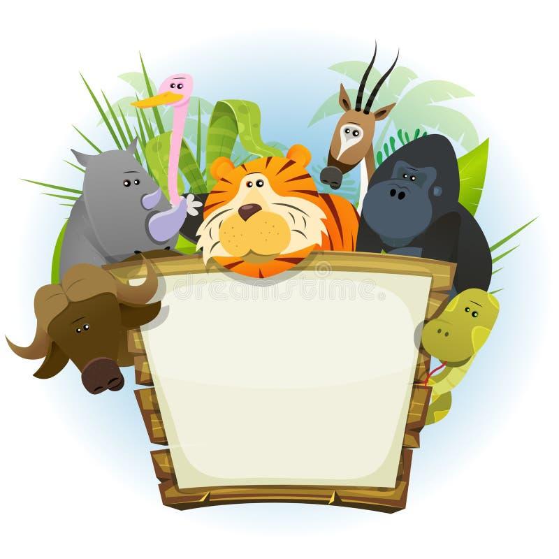 Dzikie Zwierzę zoo drewna znak ilustracja wektor