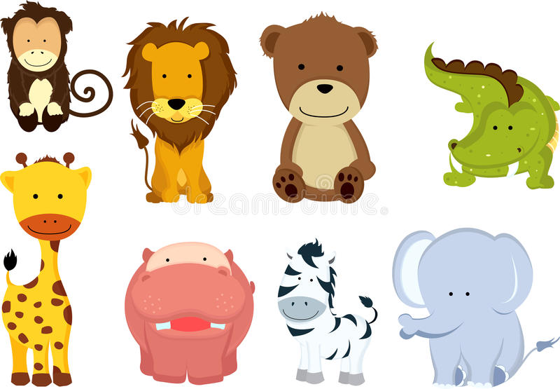 dzikie zwierzęce kreskówki ilustracja wektor