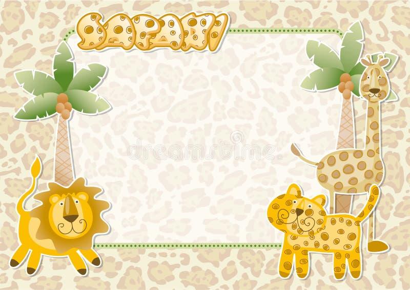 Śliczna safari tapeta ilustracji