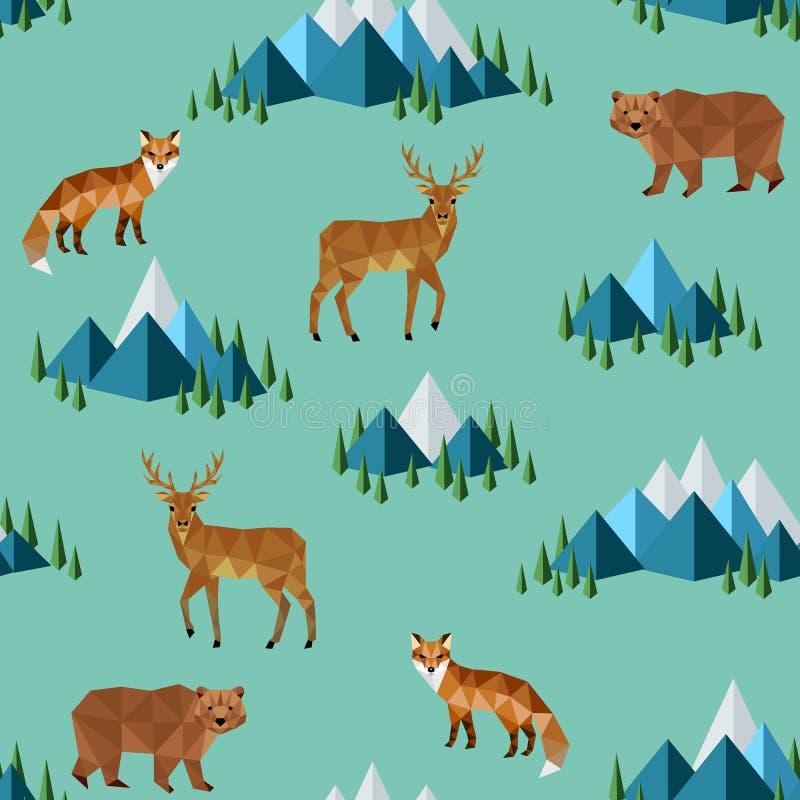 Dzikie zwierzęta i góry ilustracja wektor