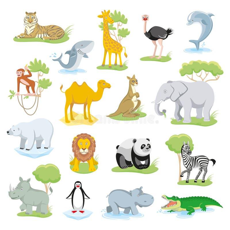Dzikie zwierzęta i morze istoty ustawiać z krajobrazem ilustracji