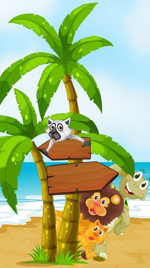 Dzikie zwierzęta przy plażą z arrowboards ilustracja wektor
