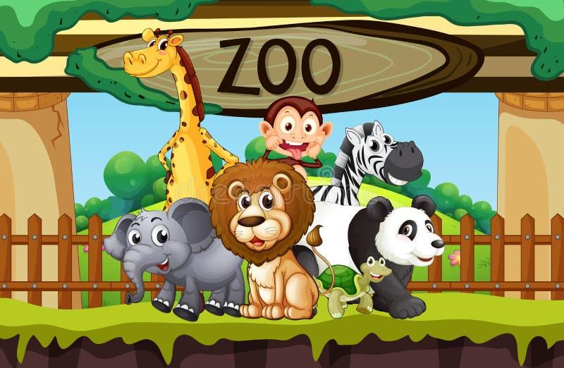 Dzikie zwierzęta przy zoo ilustracji