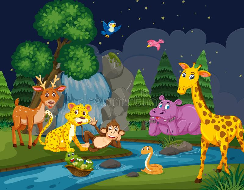 Dzikie zwierzęta w drewnach przy nocą ilustracja wektor