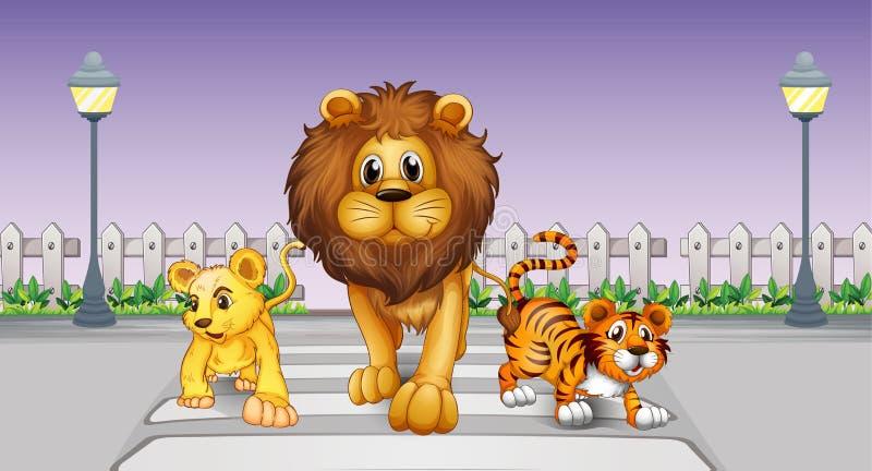 Dzikie zwierzęta w ulicie ilustracja wektor