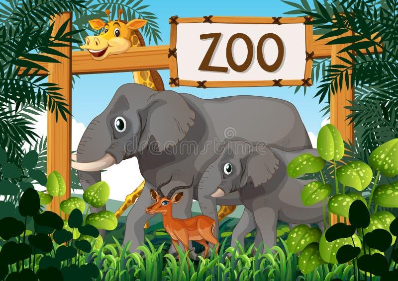 Dzikie zwierzęta w zoo royalty ilustracja