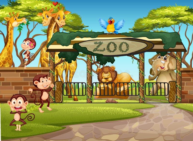 Dzikie zwierzęta w zoo ilustracji