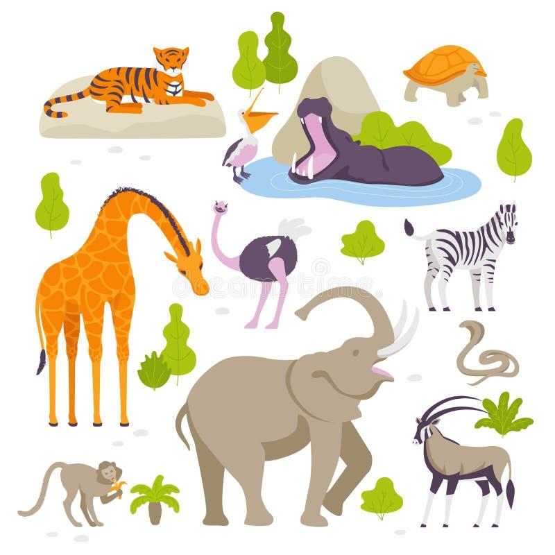 Dzikie zwierzęta w zoo ustawiającym wektorowe ilustracje w płaskim projekcie odizolowywającym na białym tle Zieleni krzaki i drze ilustracja wektor