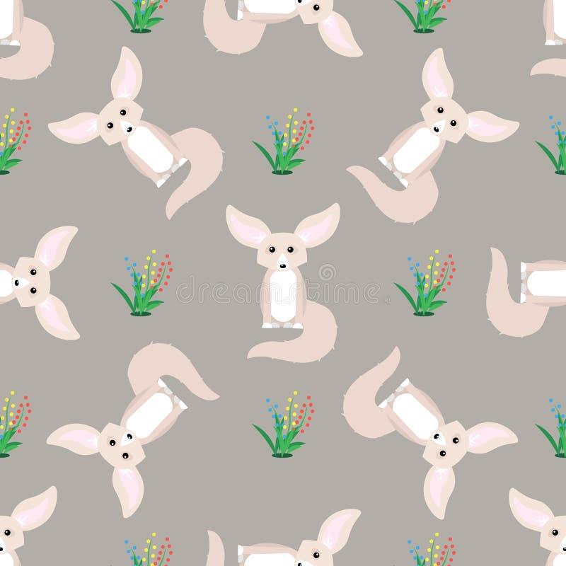 Dzikie zwierz? druk fenka lisa bezszwowy wzór royalty ilustracja