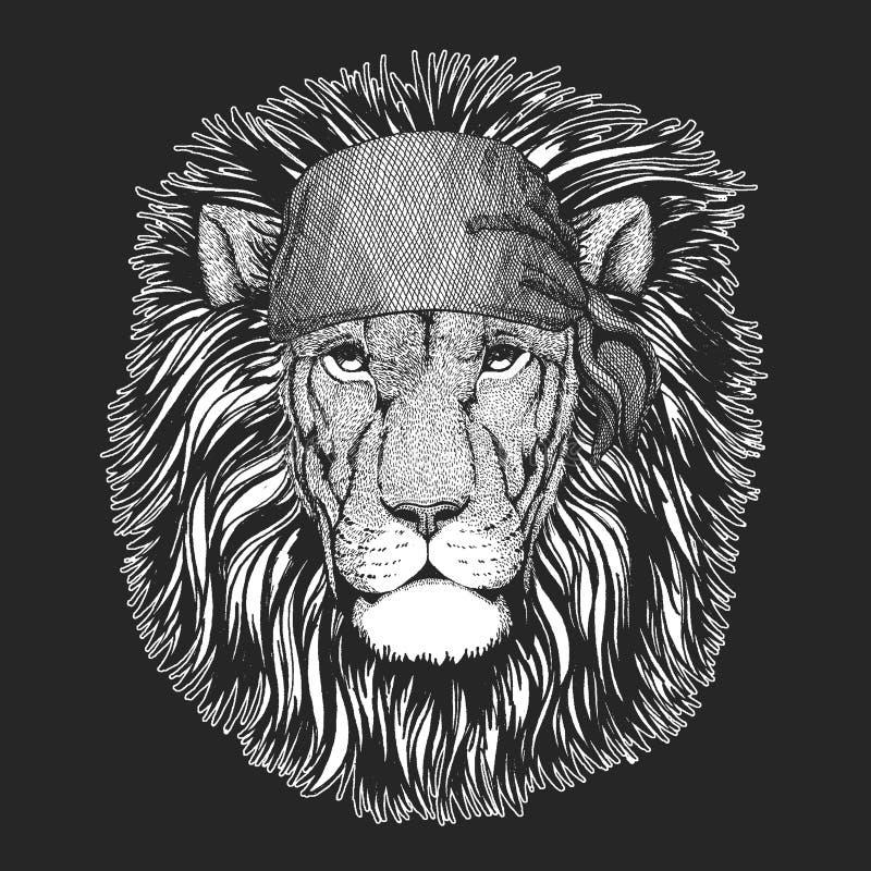 Dzikiego lwa Chłodno pirat, żeglarz, seawolf, żeglarz, rowerzysty zwierzę dla tatuażu, koszulka, emblemat, odznaka, logo, łata Wi ilustracja wektor