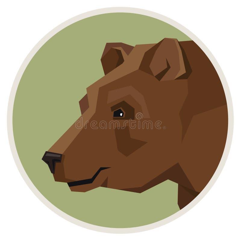Dzikiego zwierzęcia Brown niedźwiedzia inkasowa Geometryczna stylowa ikona round royalty ilustracja