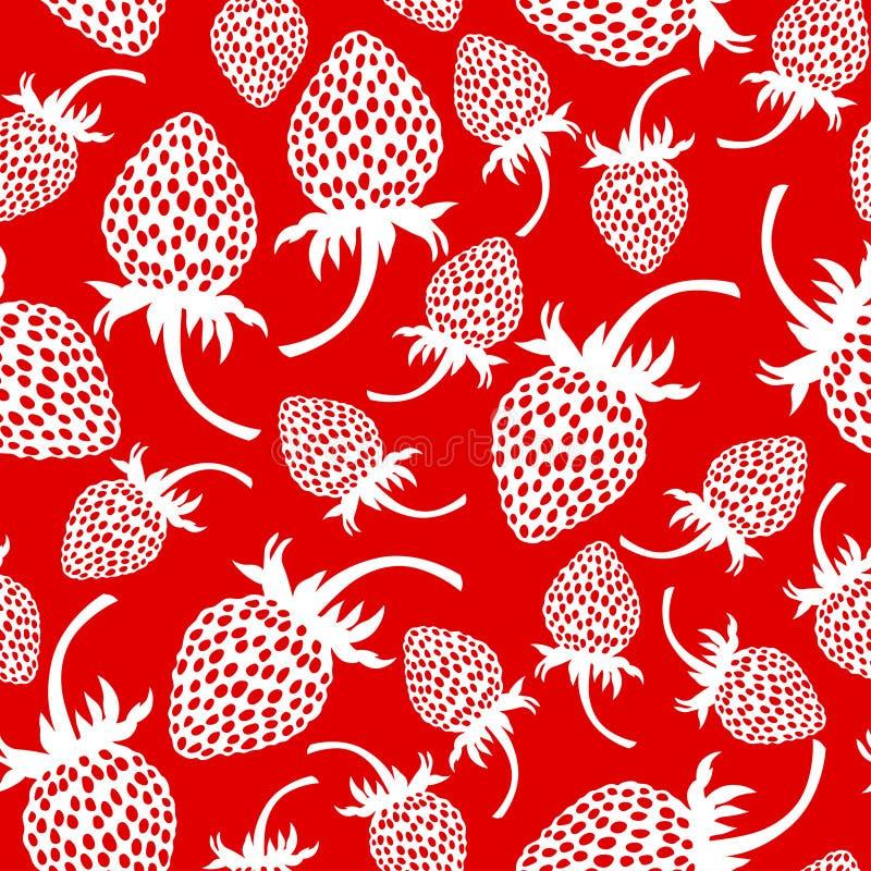 Dzikiej truskawki wzór bezszwowy na czerwonym tle ilustracji