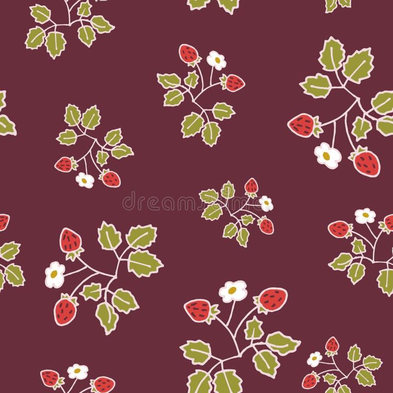 Dzikiej truskawki zmroku wzoru pantone kolory ilustracja wektor