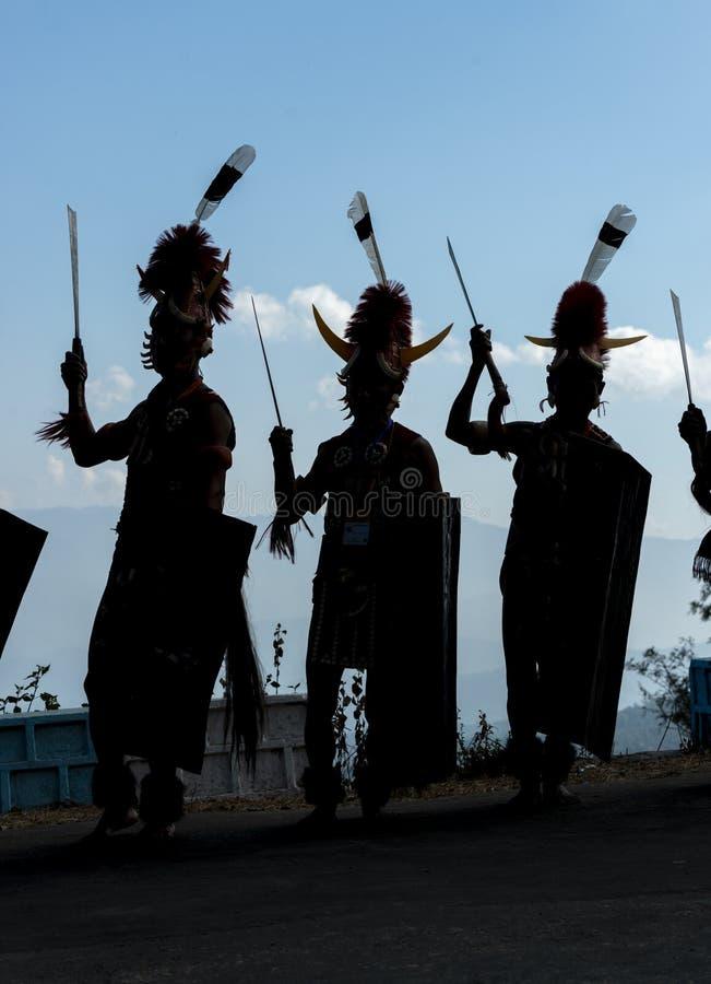 Dzioborożec festiwal Nagaland, India: 1st 2013 Grudzień: Konyak Plemienni tancerze przy dzioborożec festiwalem fotografia stock