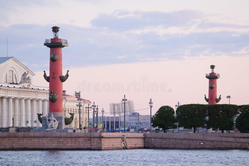 Dziobowa kolumna w Petersburg zdjęcie royalty free
