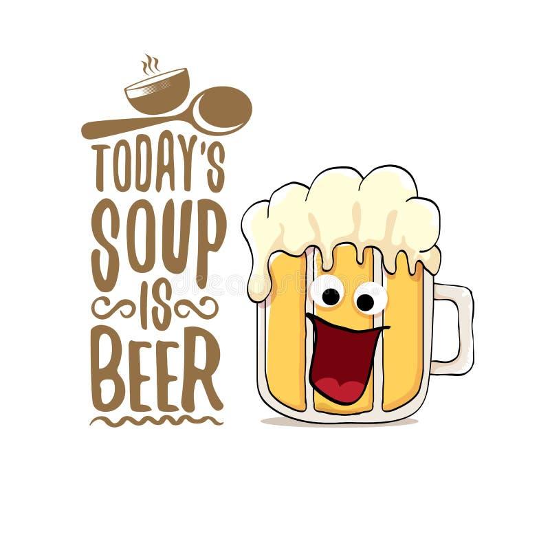Dzisiaj jest piwnym wektoru baru menu pojęcia lata lub ilustraci plakatem s polewka wektorowy ostry piwny charakter z śmiesznym ilustracji