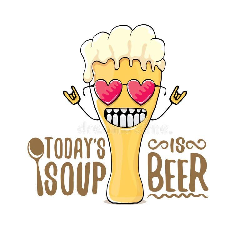 Dzisiaj jest piwnym wektoru baru menu pojęcia lata lub ilustraci plakatem s polewka wektorowy ostry piwny charakter z śmiesznym royalty ilustracja