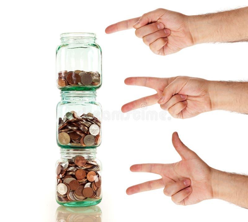 Dzisiaj początek oszczędzanie - ono łatwy jako jeden dwa trzy jest zdjęcia stock