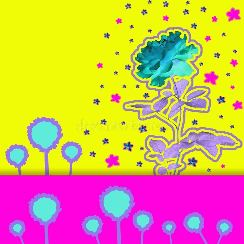 Dzisiejsza ustawa kolaż z piękny storczykowy na kolorowym abstrakcjonistycznym tle i różanym royalty ilustracja