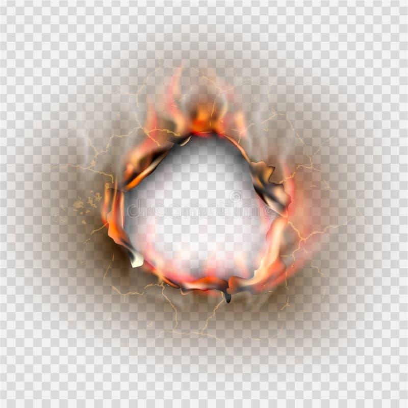 Dziura drzejąca w rozdzierającym papierze z burnt i płomień ilustracja wektor