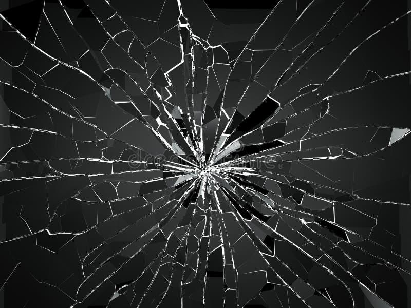 Dziura po kuli i kawałki szkło zniweczony lub roztrzaskujący ilustracji