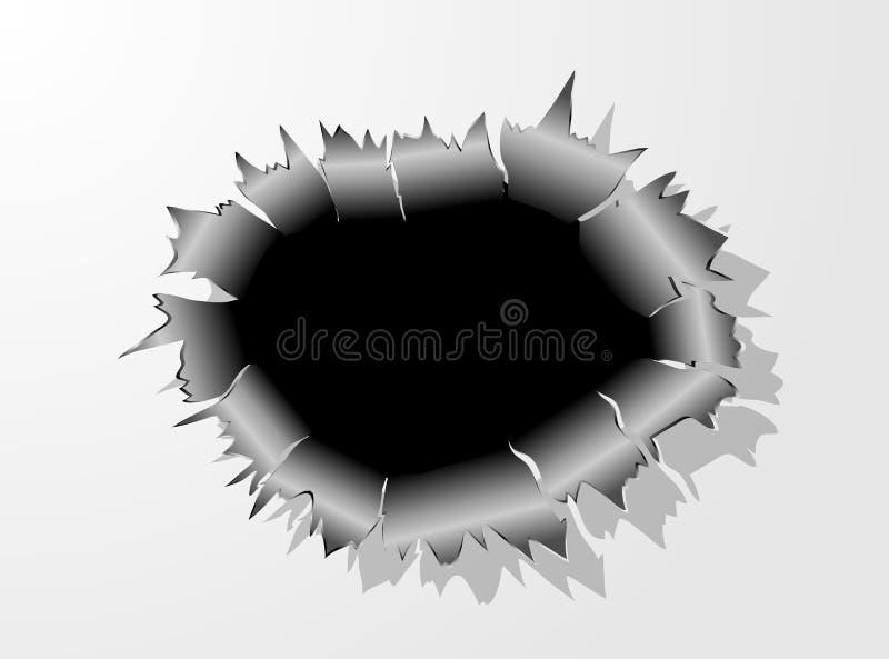 Dziura Po Kuli metalu pęknięcie royalty ilustracja