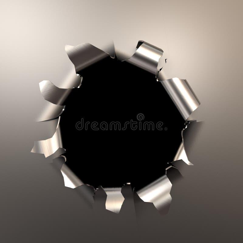 Dziura po kuli w metalu royalty ilustracja