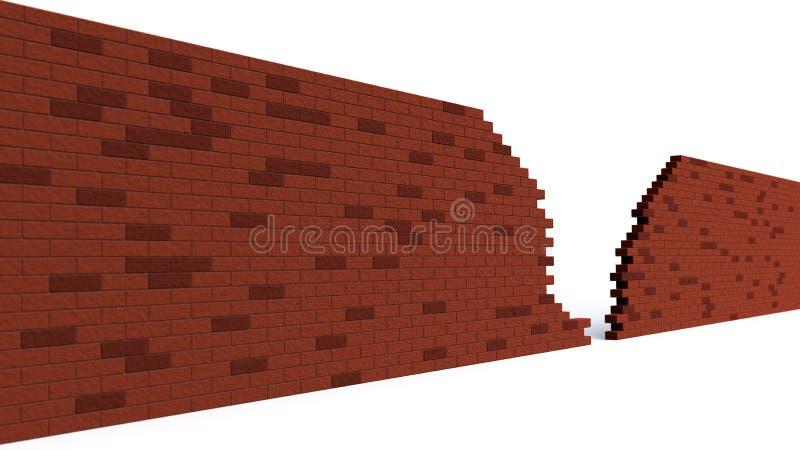 Dziura w czerwieni ściana z cegieł łamaniu royalty ilustracja