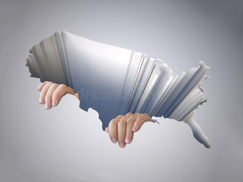 Dziura z mapą zlani stany America z przylegać brzęczenia ilustracji
