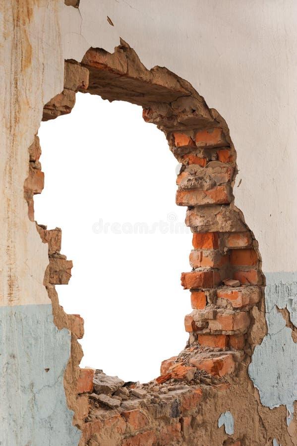 Dziury ściana z cegieł obraz royalty free