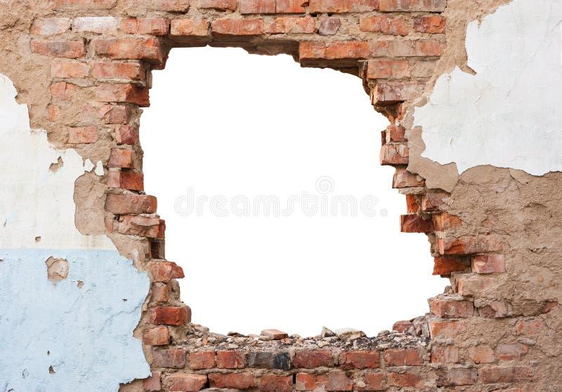 Dziury ściana z cegieł obraz stock