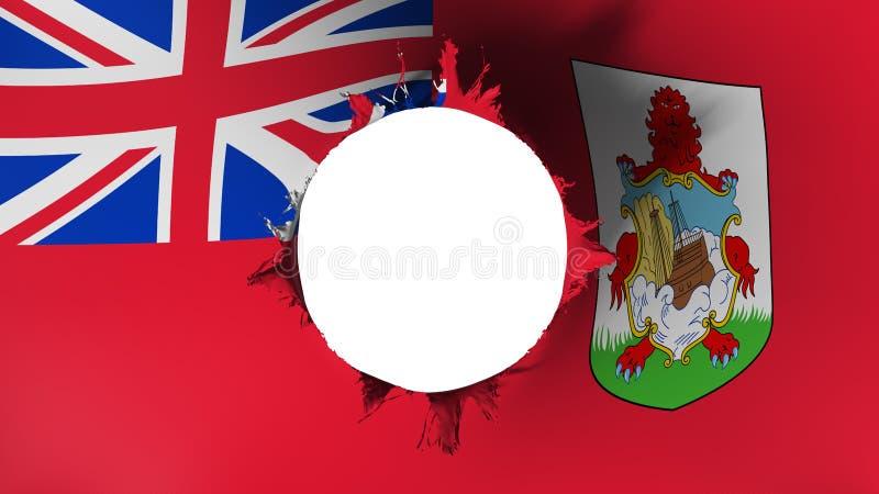 Dziury cięcie w fladze Bermuda ilustracja wektor