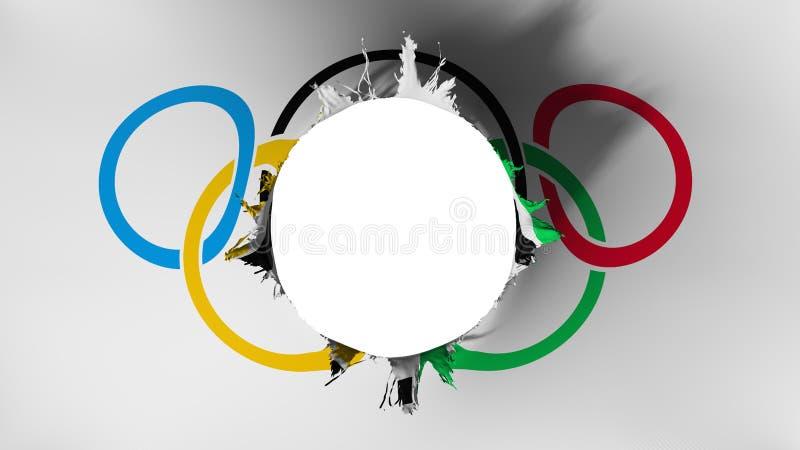 Dziury cięcie w fladze Olimpijski ilustracja wektor