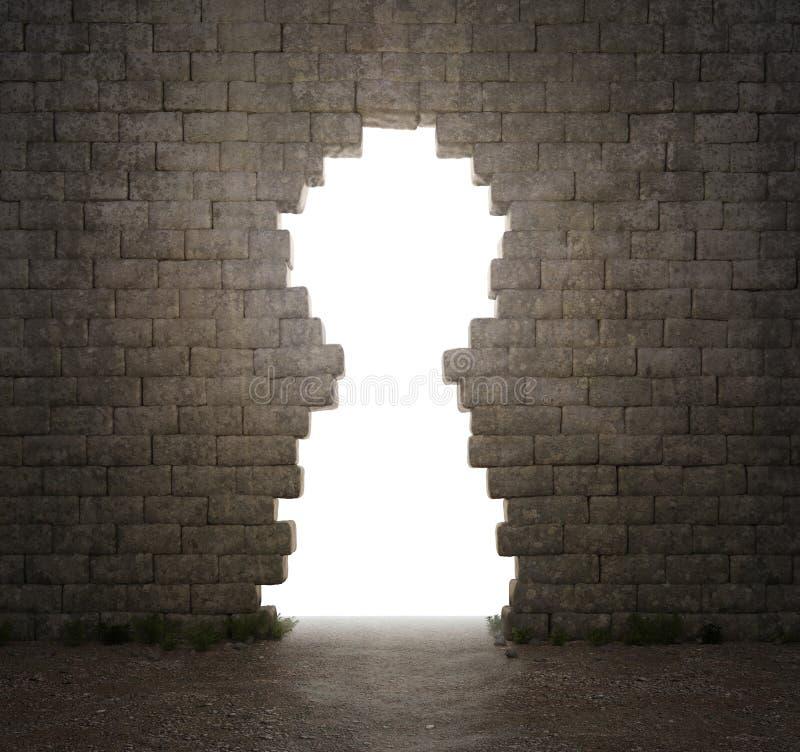 dziury keyhole kształtująca ściana zdjęcie royalty free