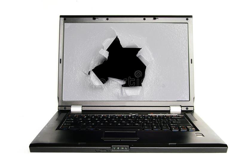 dziury komputeru osobisty ekran obraz stock