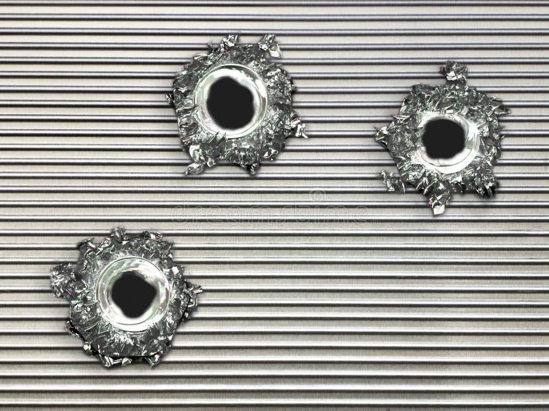 dziury po kulach metalu płytkę stali fotografia royalty free