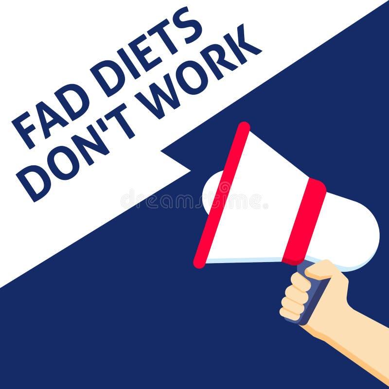 DZIWACTWO diet DON ` T pracy zawiadomienie Ręki mienia megafon z mowa bąblem ilustracji