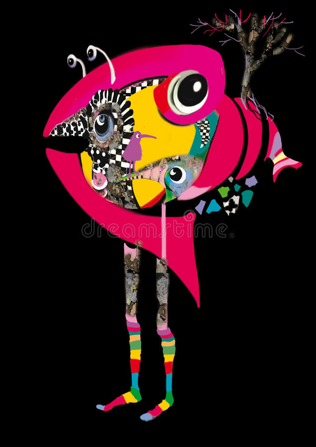 Dziwaczna menchii ryba istota z ludzkimi nogami ilustracji