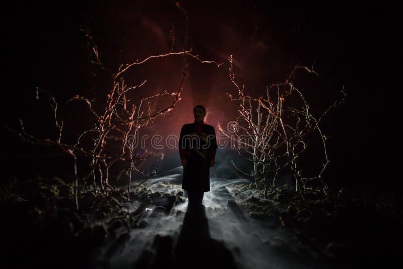 Dziwaczna sylwetka w ciemnym strasznym lesie przy nocą, mistyczni krajobrazowi surrealistyczni światła z przerażającym mężczyzna  zdjęcie stock
